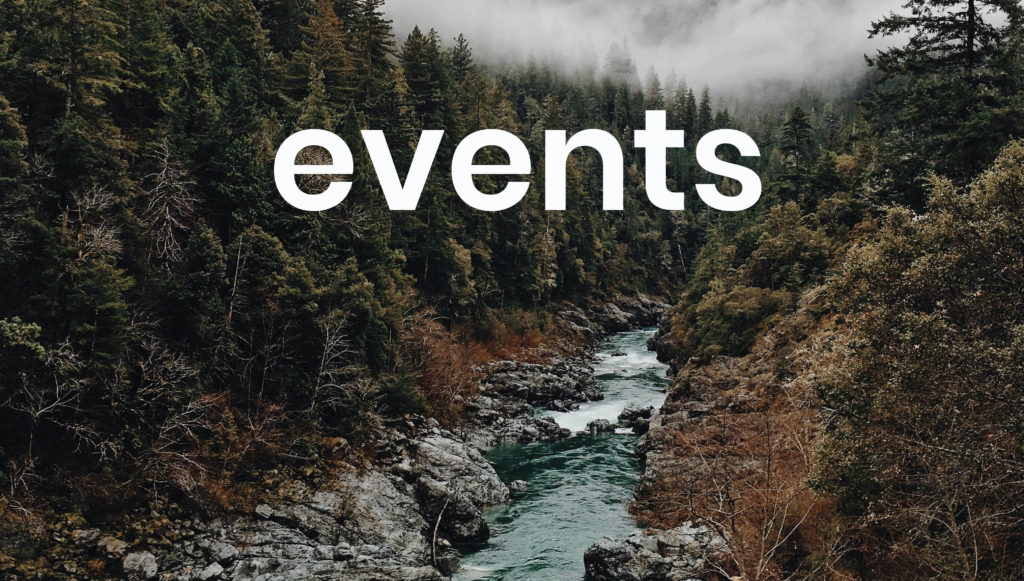 Forest picture with Events written on it under heading location and times