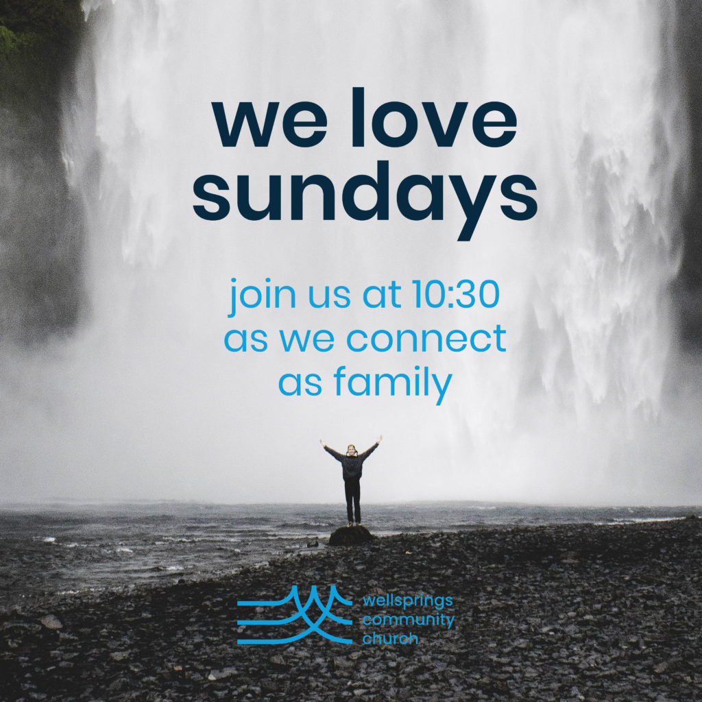 Picture of waterfall with 'We Love Sundays' in text. under the page Locations and Times