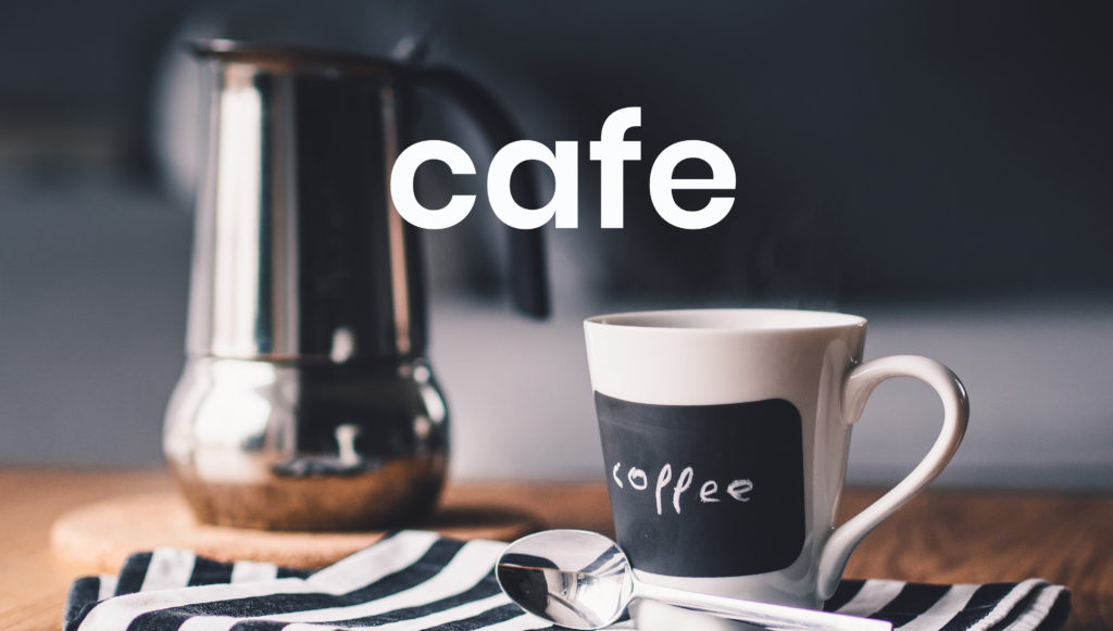 An image of a cafetiere and coffee cup, symbolising our cafe